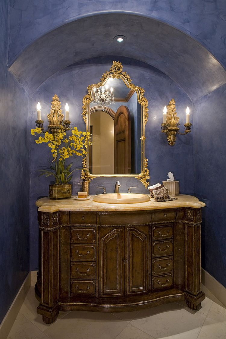Dashing powder room in bright blue and a dash of gold [Design: Bess Jones Interiors]