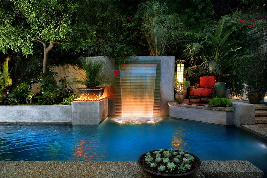 delightful backyard escape with pool waterfalls and ample greenery design estate pools - Waterfall Landscape Design Ideas
