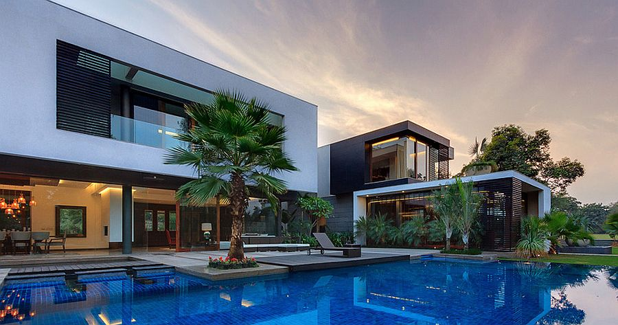 Design of the gorgeous home is defined by the landscape and the pool courtyard
