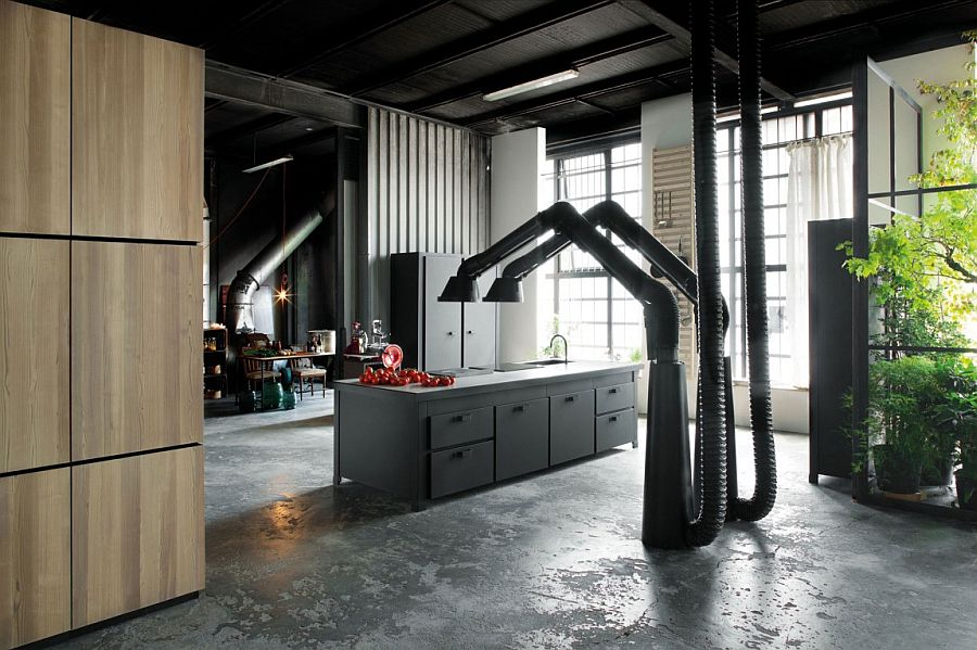 Dramatic and refined kitchen design with industrial flair
