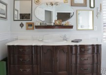 Eclectic collection of mirrors for a unique bathroom