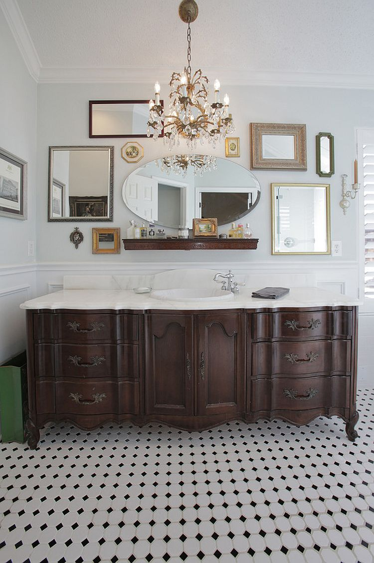 Eclectic collection of mirrors for a unique bathroom [From: Lindsay von Hagel]