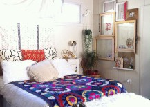 Eclectic and bohemian styles go hand in hand in this bedroom 217x155 Seasonal Upgrade: Top Interior Decorating Trends for Spring 2016