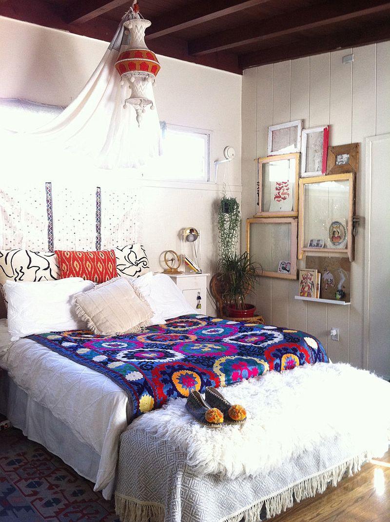 Eclectic and bohemian styles go hand in hand in this bedroom [From: The Jungalow ]