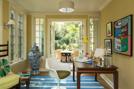 Eclectic home office with a splash of blue