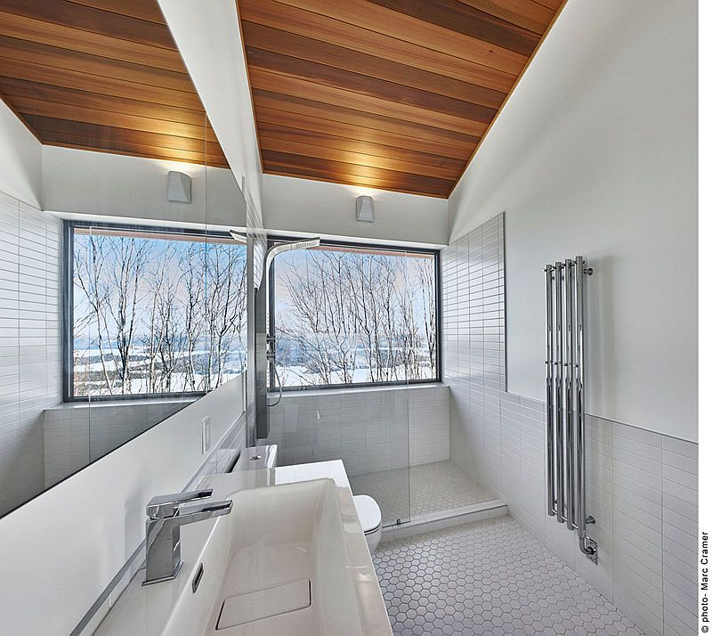 Enjoy the snow-covered slopes as you take a hot shower!