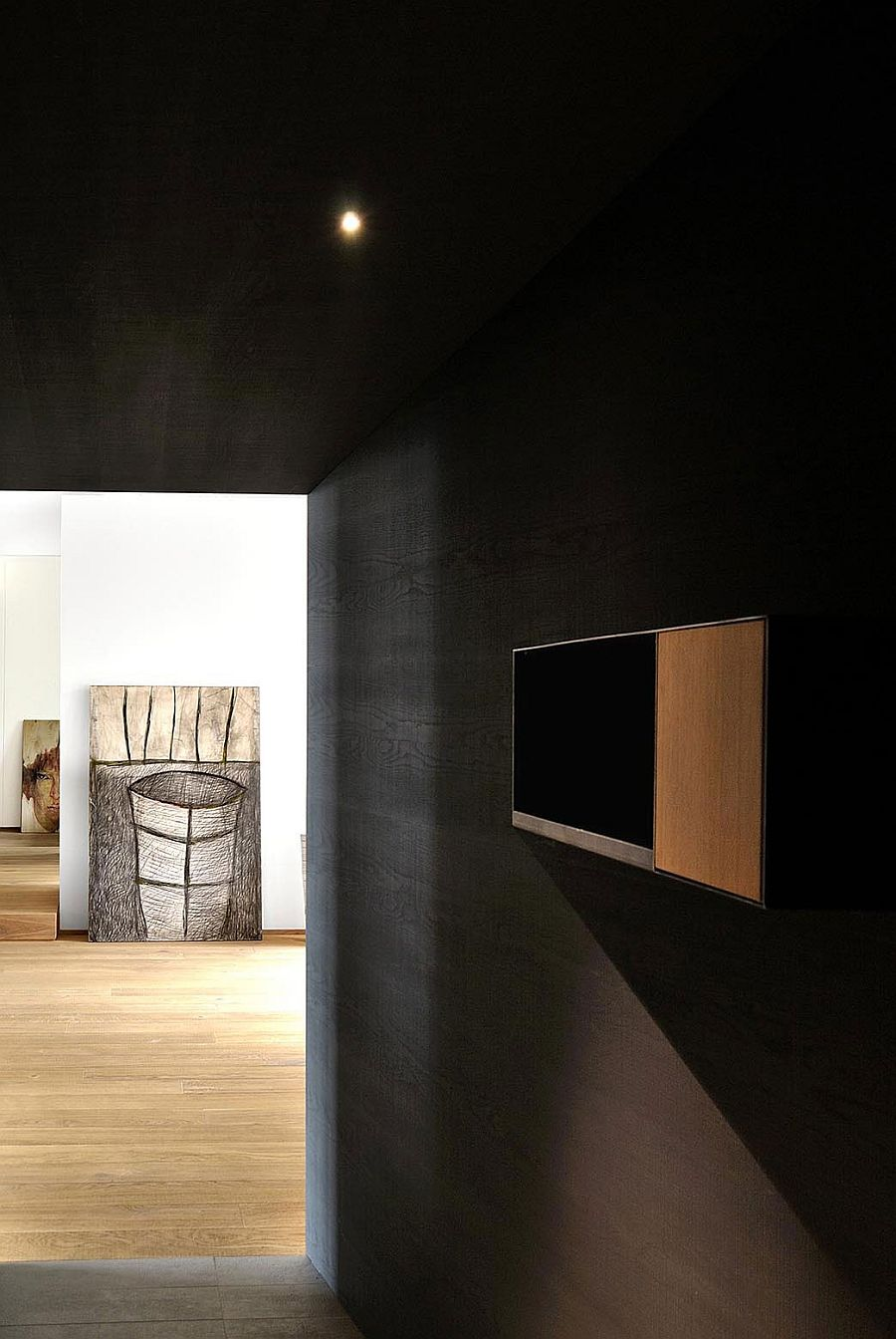 Entry to the revamped apartment in Varese, Italy