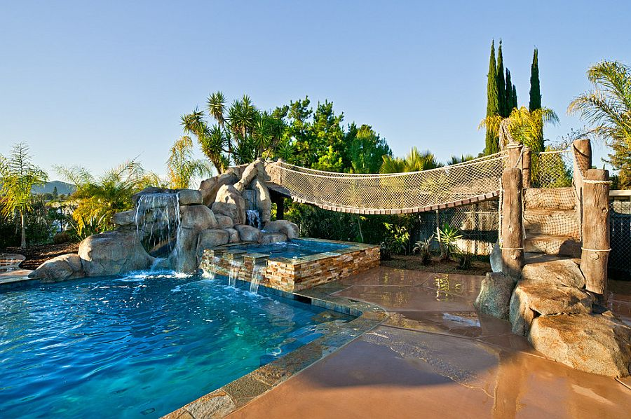 Exapnsive pools with waterfalls are perfect for the tropical backyard