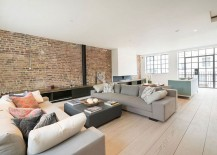 Existing brick walls of the structure combined with contemporary finishes