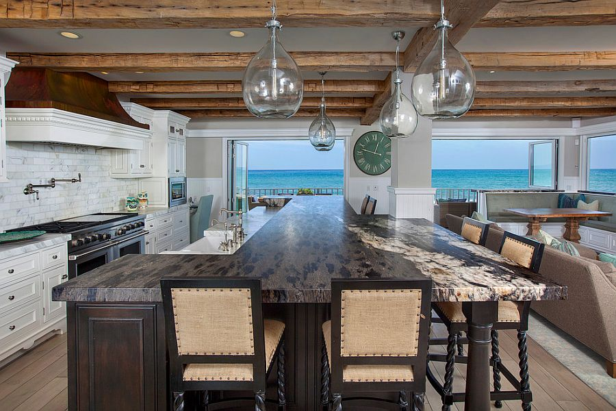 Expansive beach style kitchen with ocean view [Design: James Glover Residential & Interior Design]