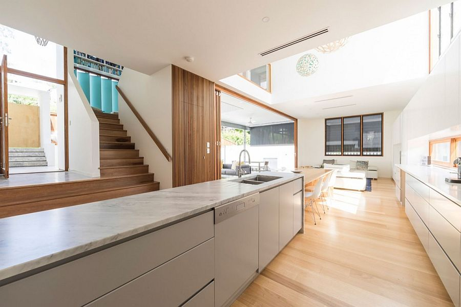 Expansive kitchen and dining area with ample natural light