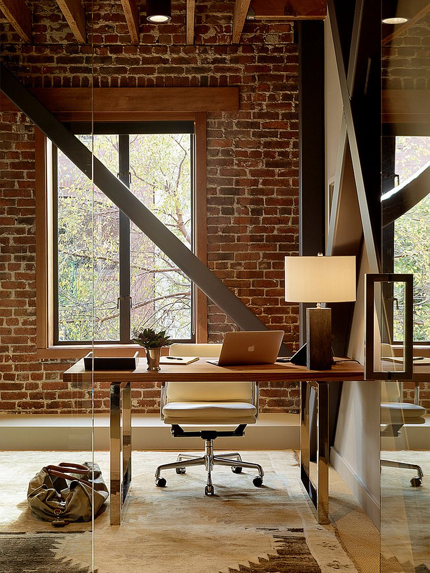 In gallery exposed brick wall backdrop is perfect for the industrial home office design palmer weiss