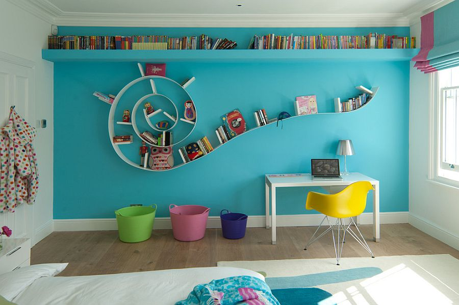 Fabulous Bookworm bookshelf in the modern kids' room [Design: De Hasse]