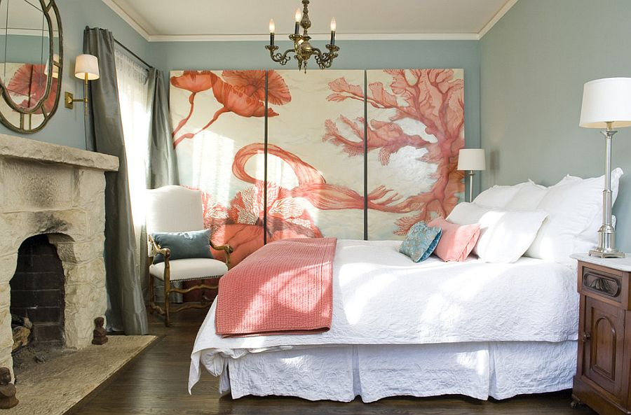 Fabulous art piece adds to the coastal style of the bedroom [Design: Lori Smyth Design]