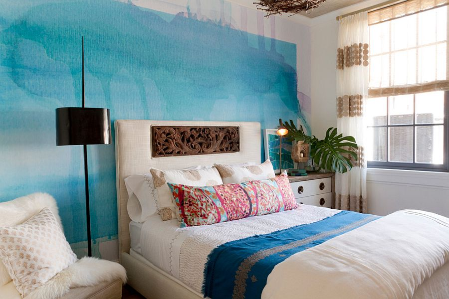 Fabulous contemporary bedroom combines bohemian elegance with watercolor magic Seasonal Upgrade: Top Interior Decorating Trends for Spring 2016