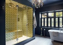Fabulous eclectic bathroom with dark blue and vivacious yellow for the shower area