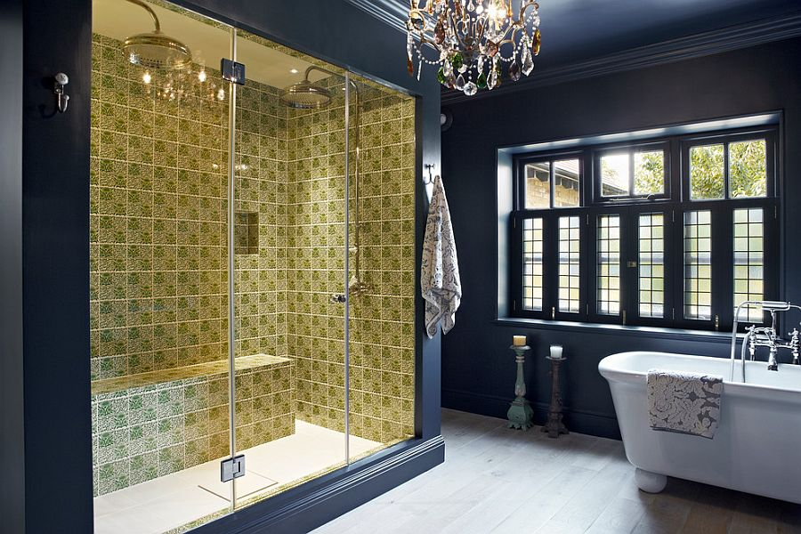 Fabulous eclectic bathroom with dark blue and vivacious yellow for the shower area [Design: Godrich Interiors]