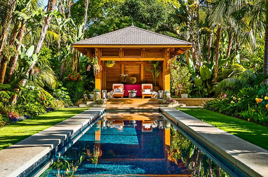 ... Fabulous Tropical Pool House And Pool Surrounded By Lush Tropical  Vegetation [Design: Neumann Mendro