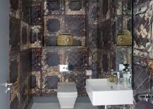 Fabulous wallpaper imitates the finish of aged metallic tiles