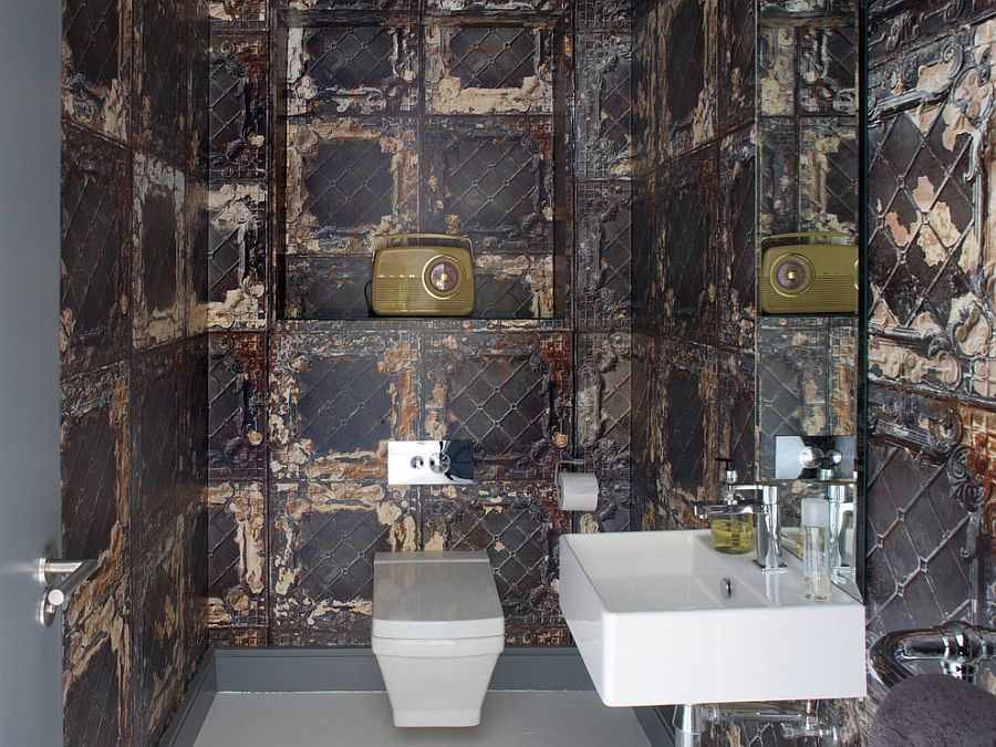 Fabulous wallpaper imitates the finish of aged metallic tiles [Design: Optimise Design]
