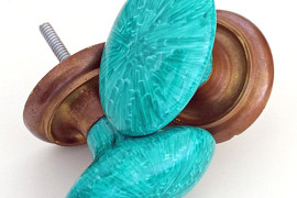 Faux malachite drawer pulls from Teal + Lime