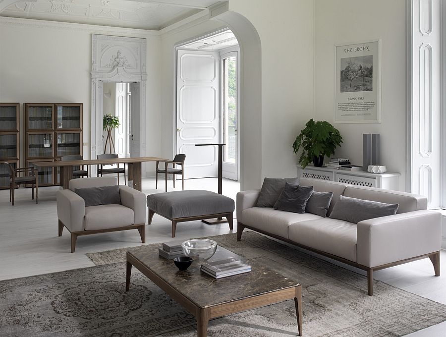 Fellow sofa along with cool armchair and ottoman Refresh Your Living Room: Trio of Comfy Modern Sofas from Porada
