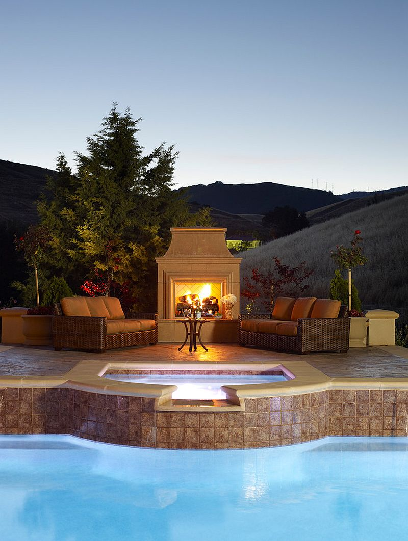 Fireplace and outdoor hangout next to the pool [Design: Susan Friedman Landscape Architecture]