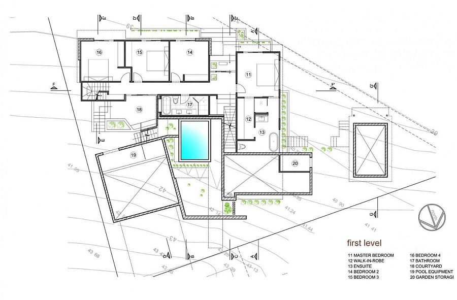 First level floor plan of the Bulli home