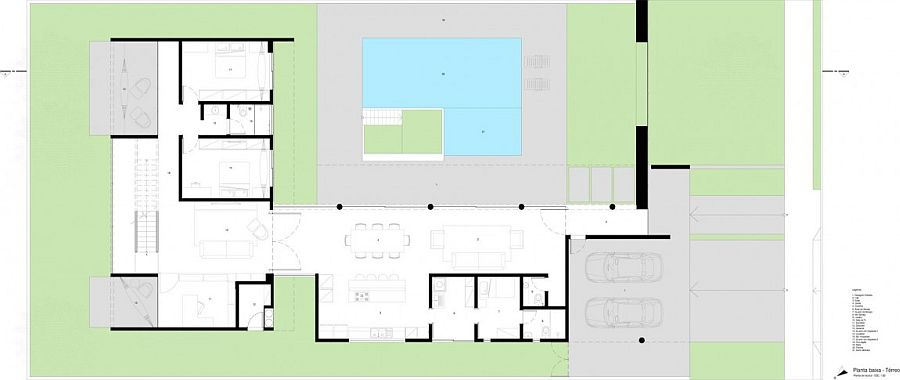 Floor plan of first level of contemporary home in Brazil