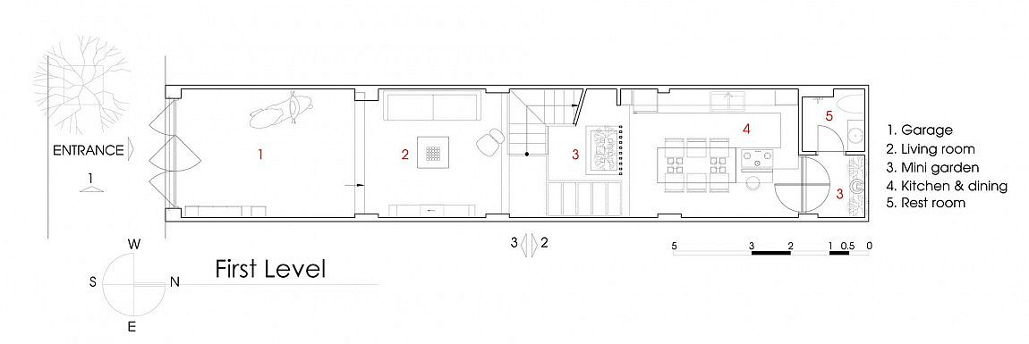 Floor plan of ground level of NA House