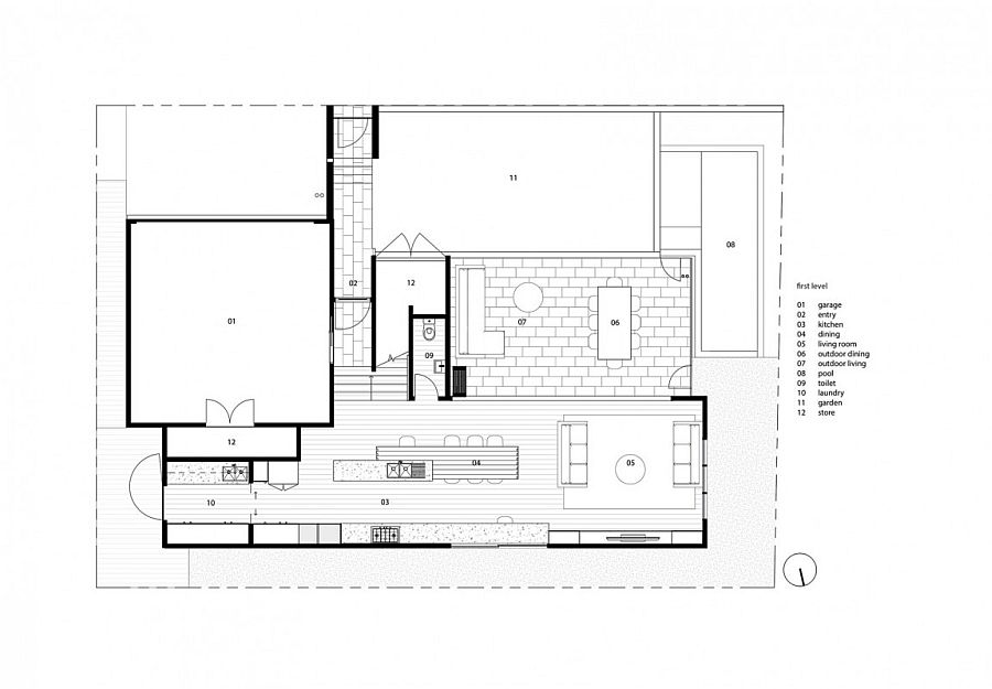 Floor plan of lower level of the stylish suburban home in Brisbane