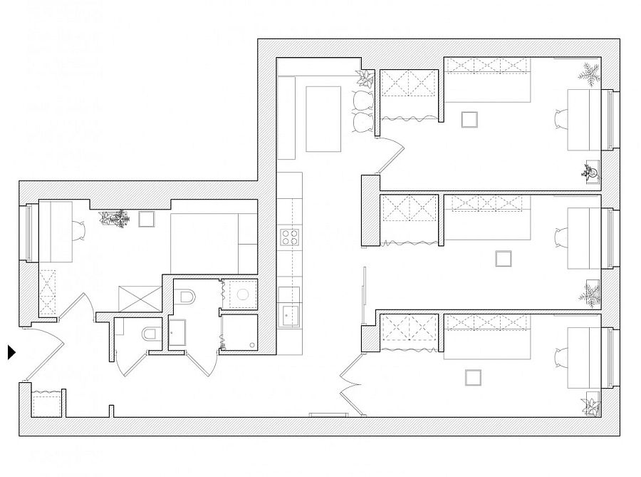 Floor plan of revamped tiny apartment in Poznan