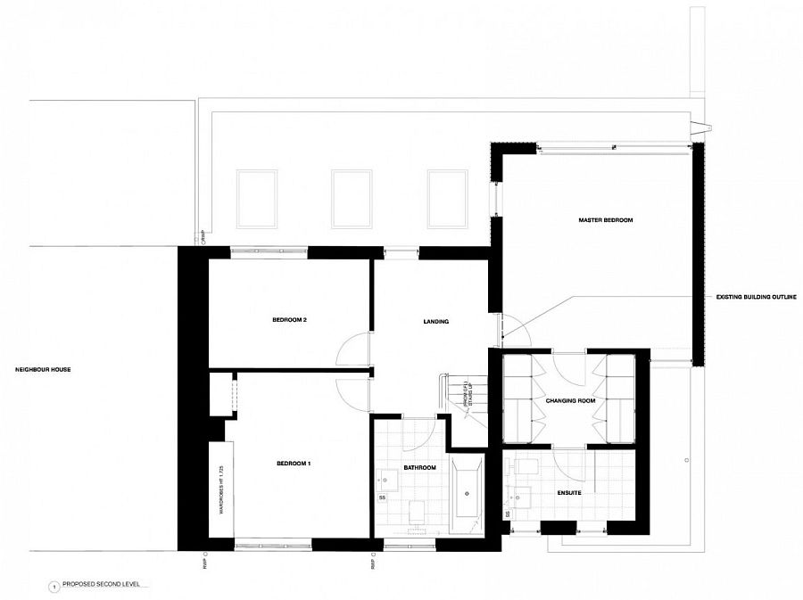 Floor plan of the second level of the new extension
