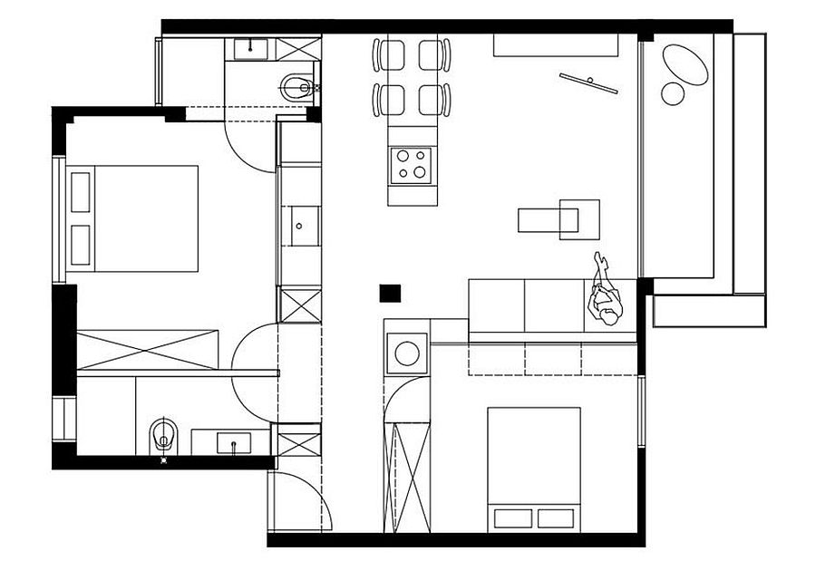 Floor plan of tiny Tel Aviv apartment