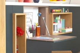 Fold-down desk and art area for a child