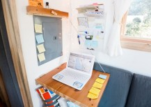 Fold-down desk solution for a tiny house
