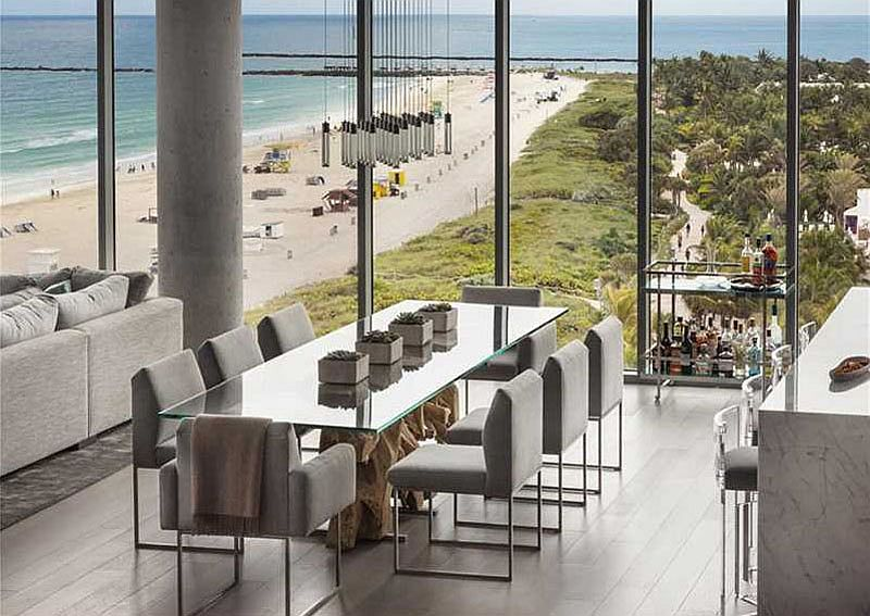 Formal dining area of the Miami penthouse with an ocean view
