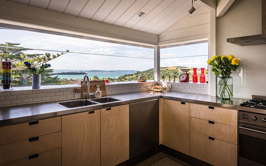 Frame those ocean views to perfection with a window above the kitchen counter [Design: Charissa Snijders Architect]