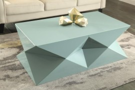 Geo objects top a contemporary coffee table