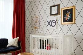 Gold pouf in a designer nursery