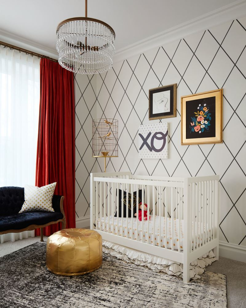 Gold pouf in a designer nursery
