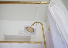 Gold-toned shower head in a chic powder room