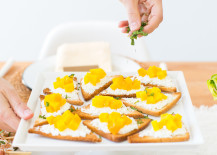 Golden beet and goat cheese toasts from Camille Styles