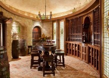 Gorgeous table complements the classic style of the wine room