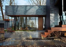 High R value glass and wood bring textural contrast to the facade 217x155 Fallsview Residence: Dashing Escape on the Edge of UNESCO World Biosphere Reserve