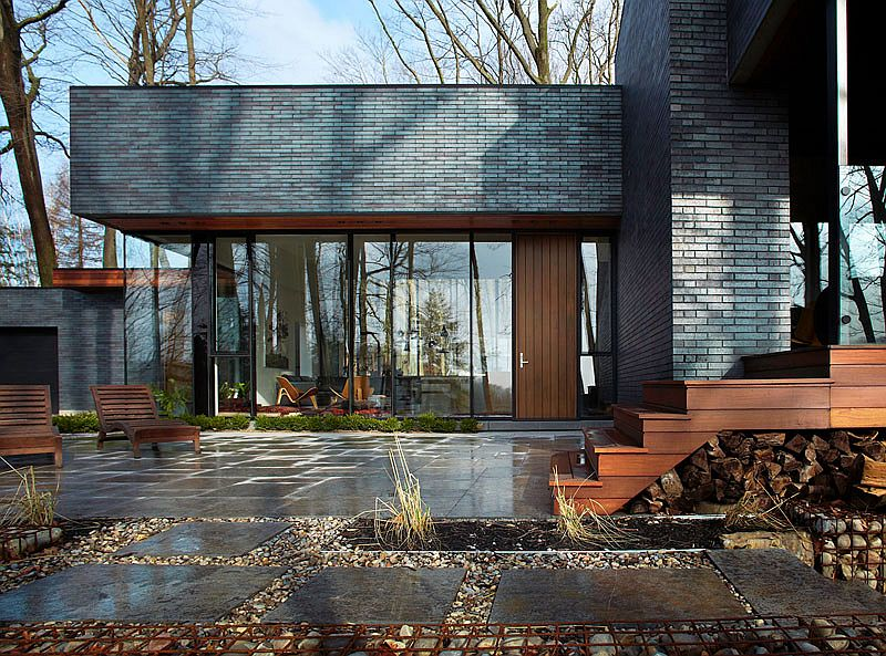 High R-value glass and wood bring textural contrast to the facade
