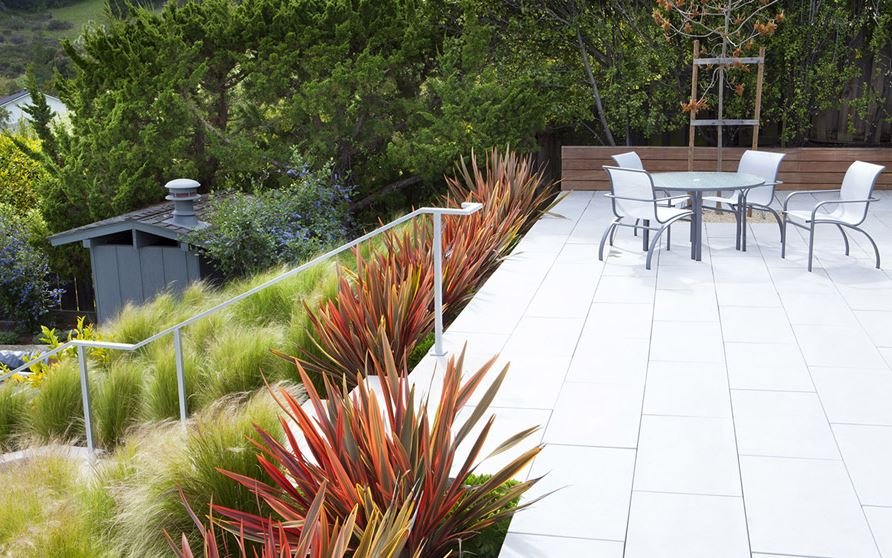 Hillside garden with native grasses