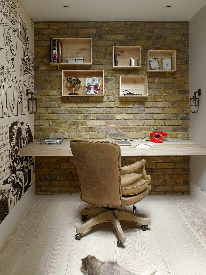 View In Gallery Home Office With Brick Wall, Custom Wooden Shelves And  Comic Strip Styled Wall Art