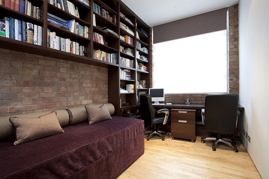 Home office with daybed and open bookshelves above [From: Increation]