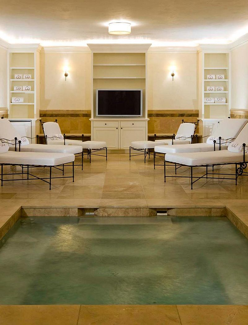 Home spa insipration with a sunken jacuzzi